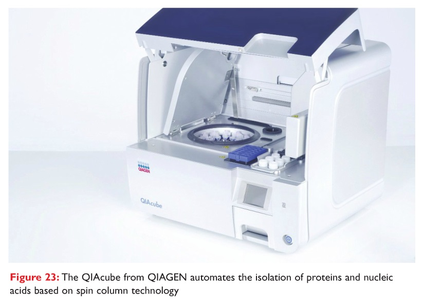 Figure 23 The QIAcube from QIAGEN automates the isolation of proteins and nucleic acids based on spin column technology