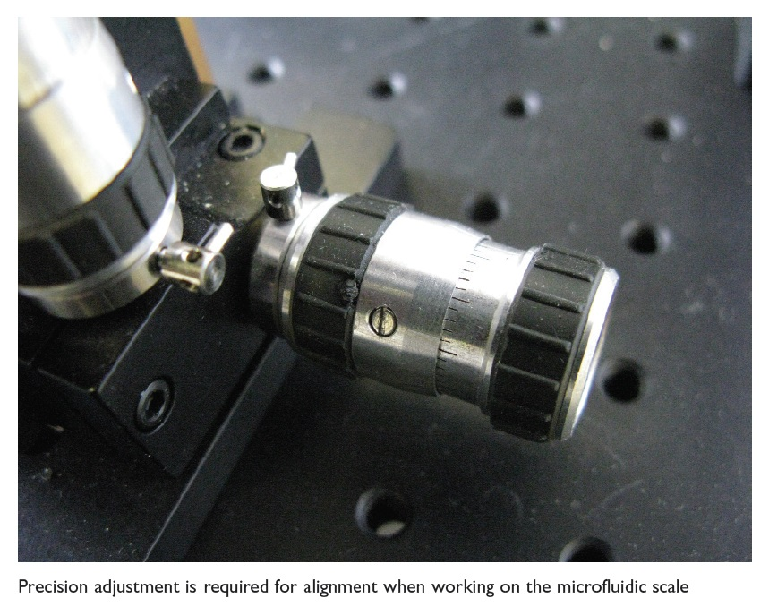 Image 1 Precision adjustment is required for alignment when working on the microfluidic scale
