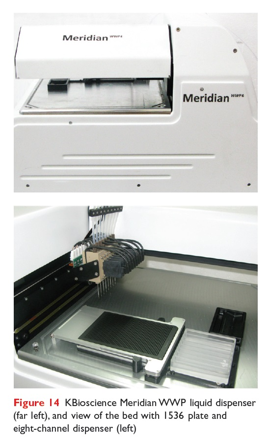 Figure 14 KBioscience Meridian WWP liquid dispenser and view of the bed with 1536 plate eight-channel dispenser