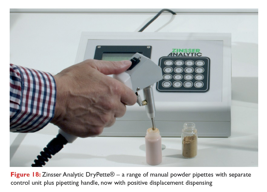 Figure 18 Zinsser Analytic DryPette, a range of manual powder pipettes with separate control unit plus pipetting handle