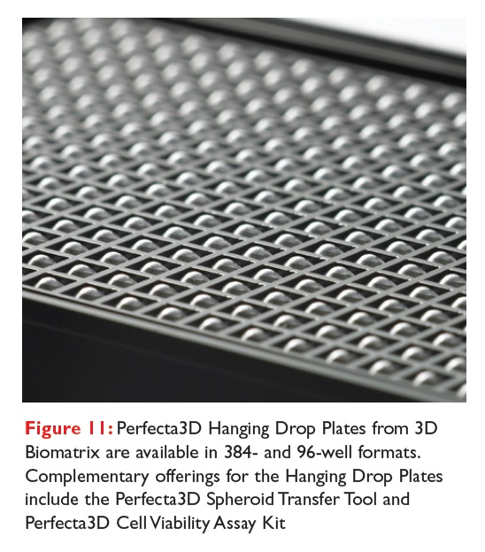 Figure 11 Perfecta3D Hanging Drop Plates from 3D Biomatrix are available in 384-well and 96-well formats