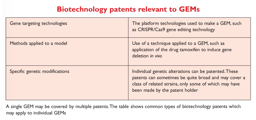 Table 1 Biotechnology patents relevant to GEMs