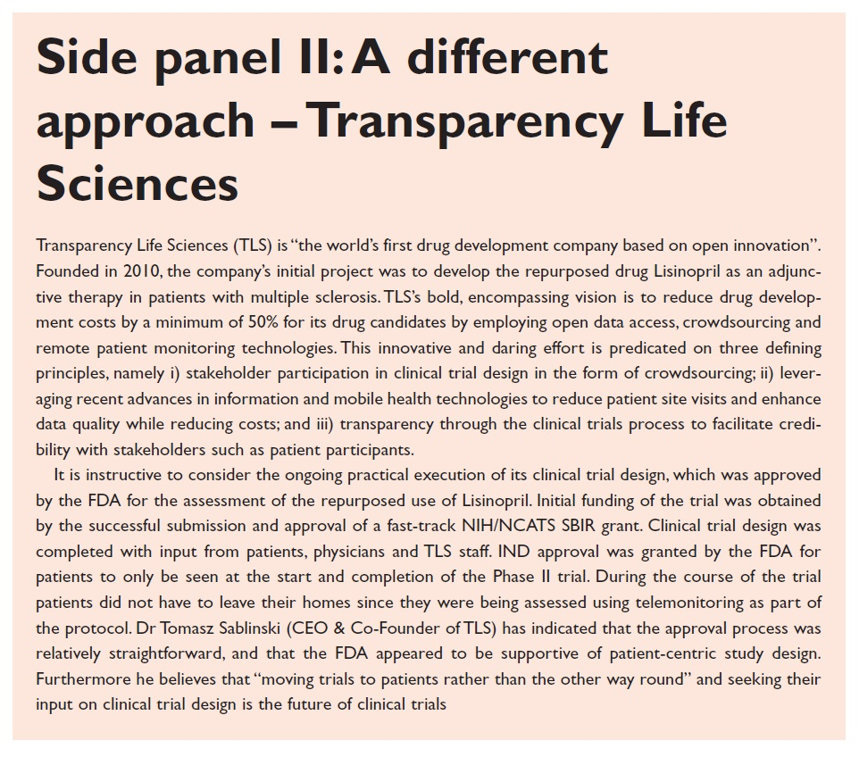 Side panel 2 A different approach, Transparency Life Sciences
