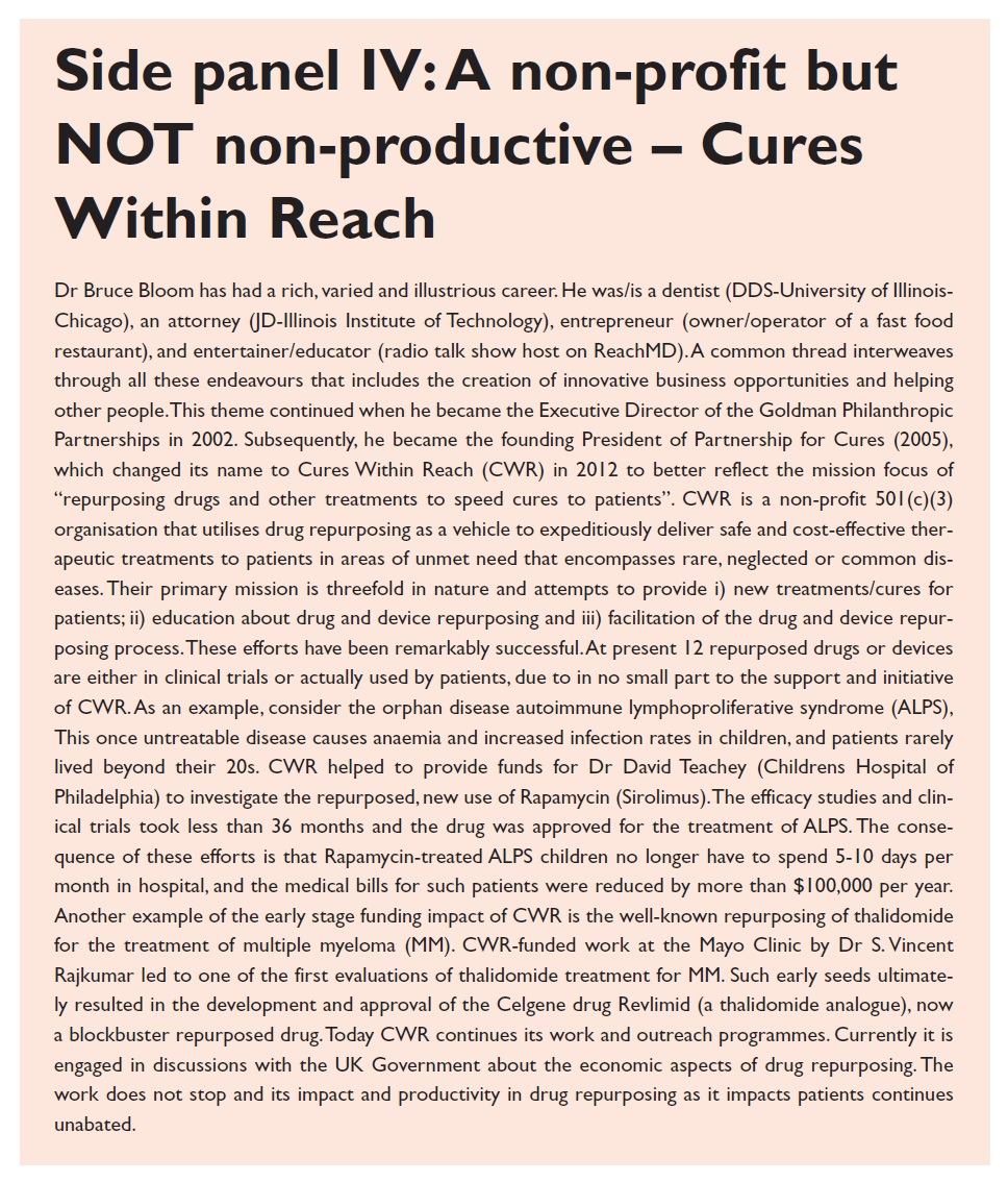 Side panel 4 A non-profit but NOT non-productive, Cures within reach