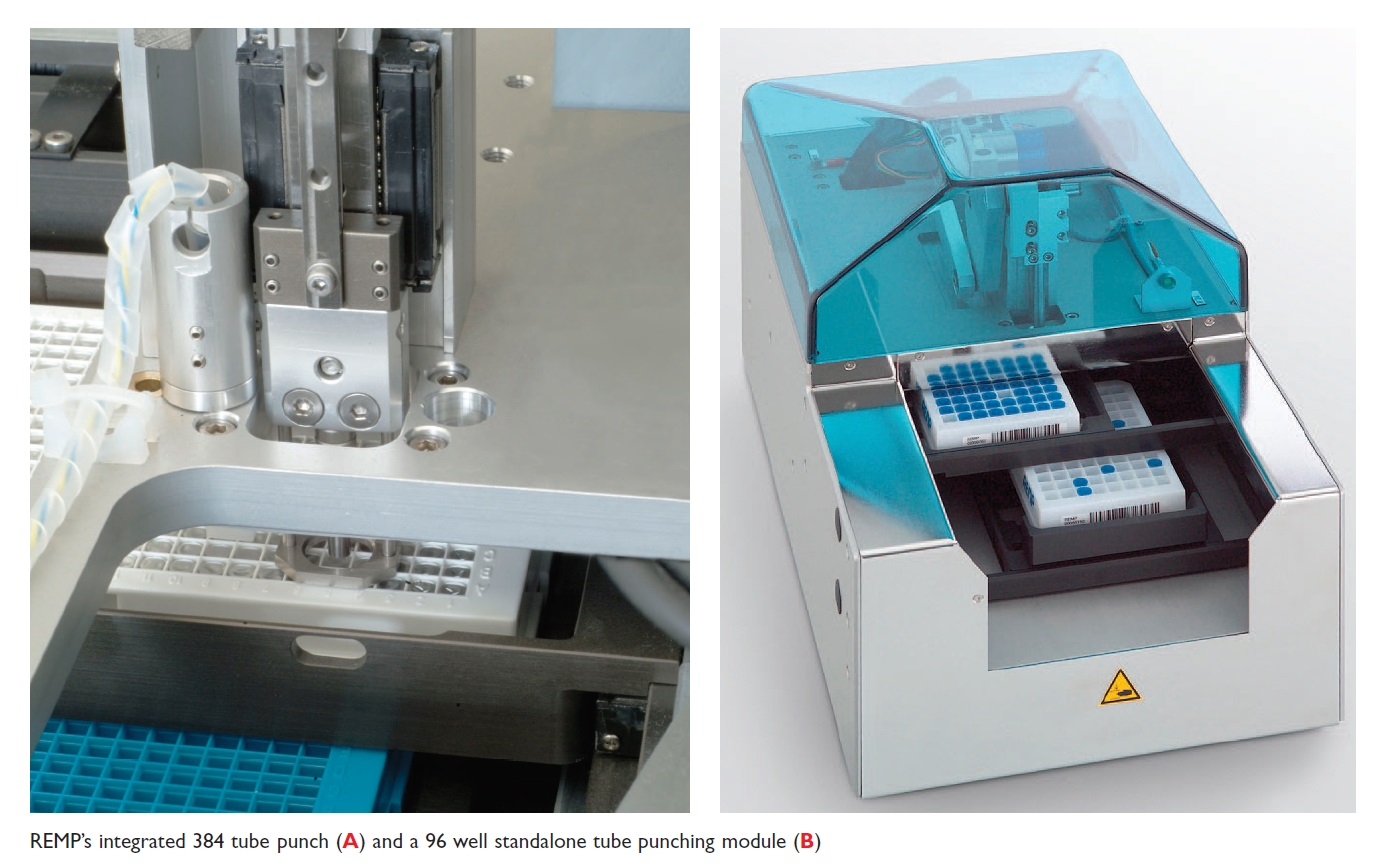 Image 3 REMP's integrated 384 tube punch and a 96 well standalone tube punching module