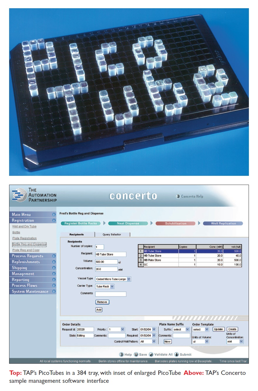 Image 5 TAP's PicoTubes in a 384 tray, and TAP's Concerto sample management software interface
