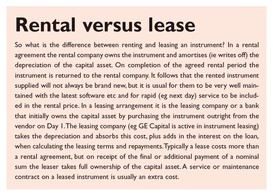 Text Box 1 Rental versus lease of instruments