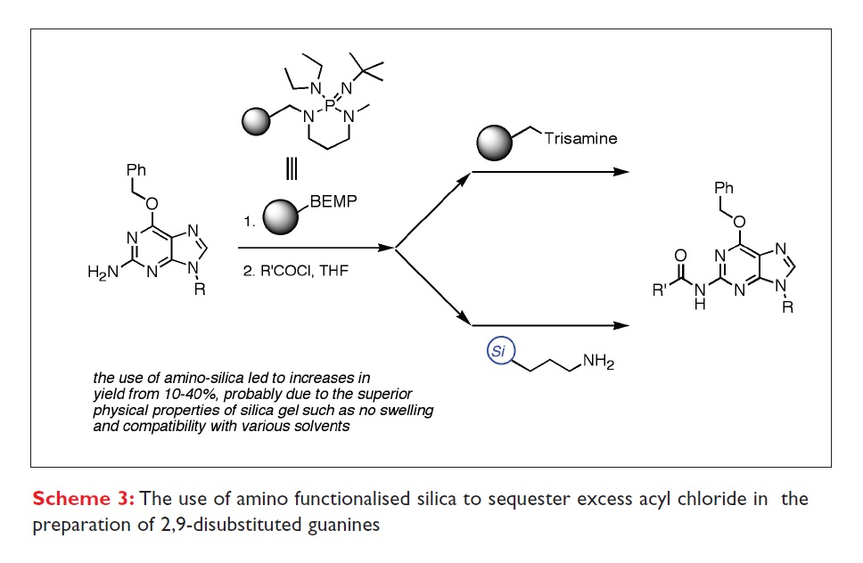 Scheme 3 The use of amino functionalised silica to sequester excess acyl chloride in the preparation of 2,9-disubstituted guanines