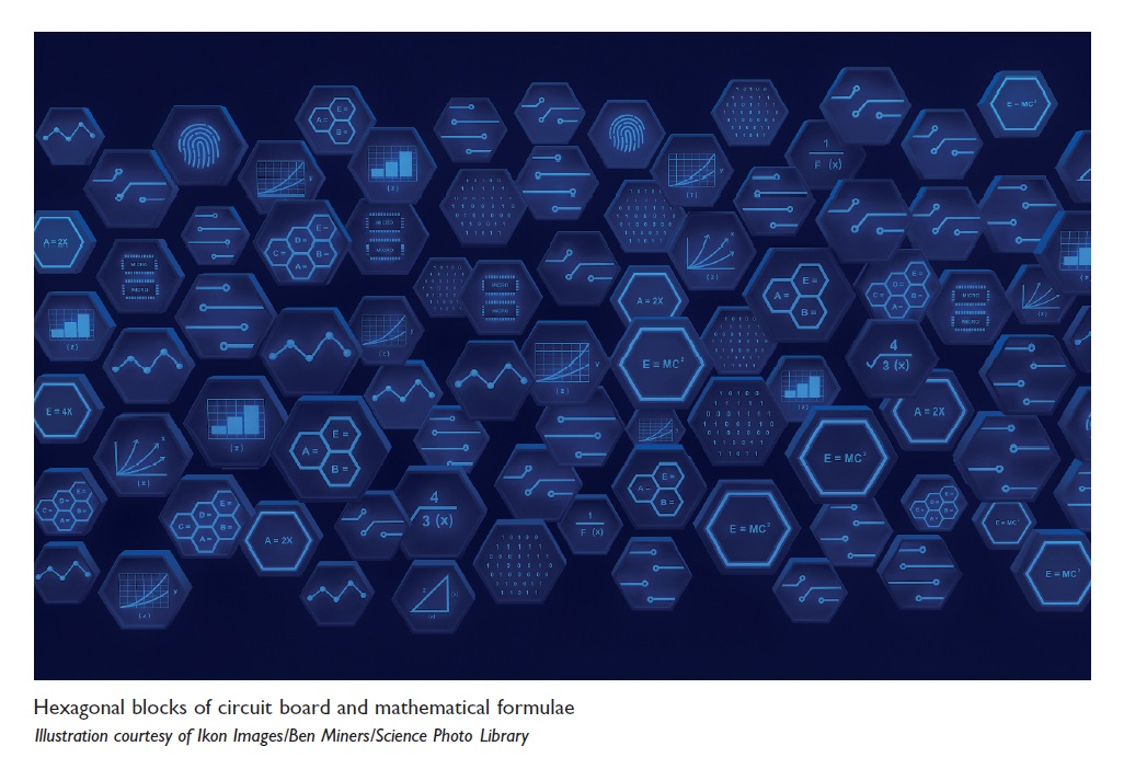 Image 2 Hexagonal blocks of circuit board and mathematical formulae