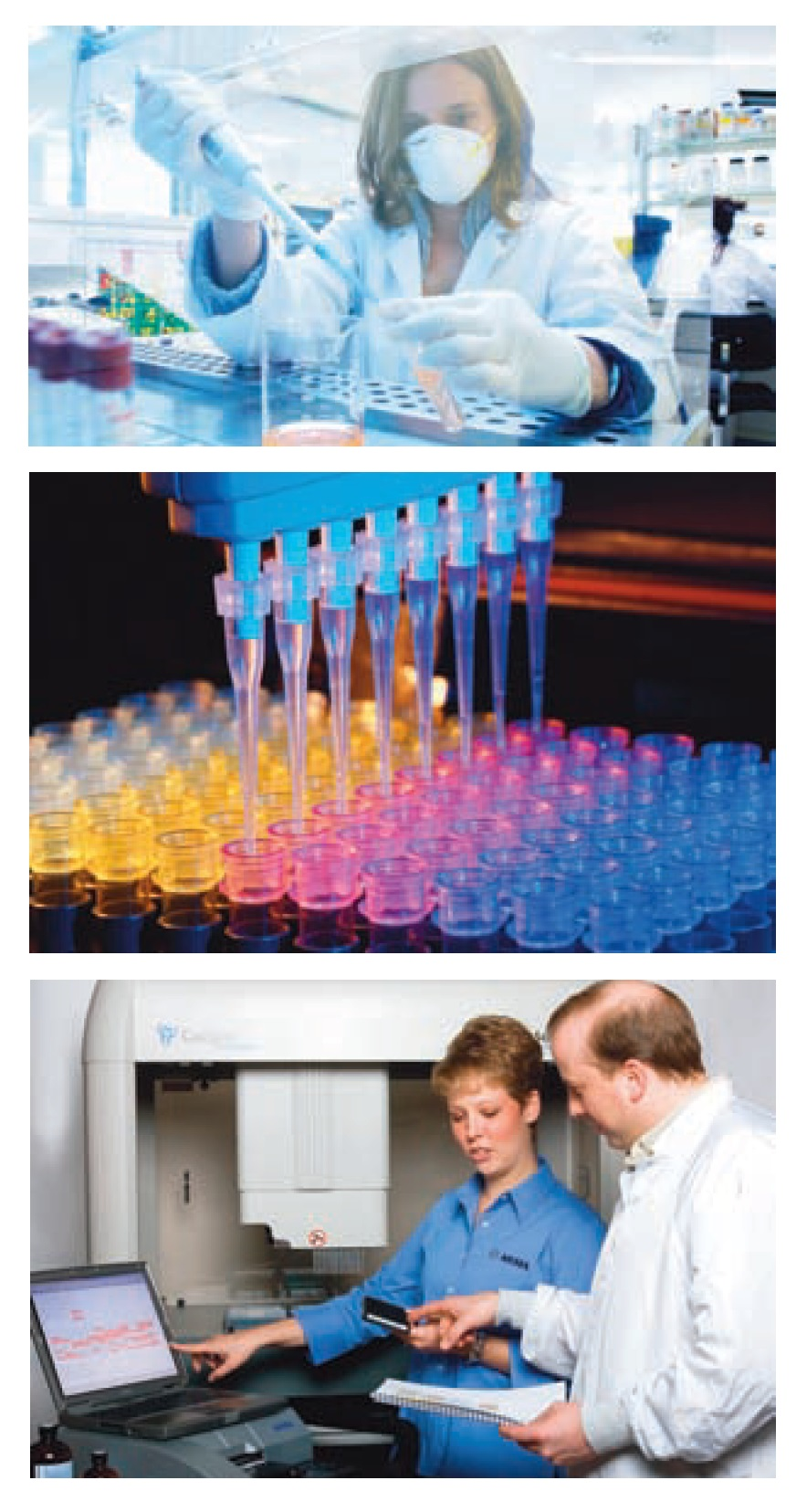 Image 1 Liquid handling and drug discovery, scientists in the lab and processes