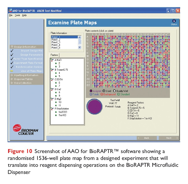 Figure 10 Screenshot of AAO for BioRAPTR software showing a randomised 1536-well plate map
