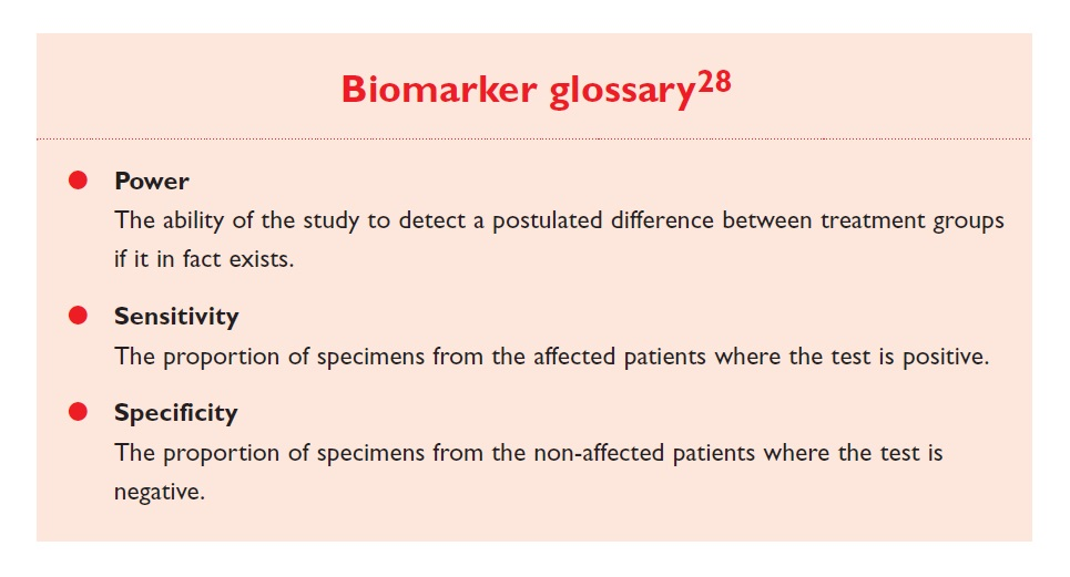 Excerpt 2 Biomarker glossary, power, sensitivity and specificity