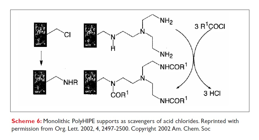 Scheme 6 monolithic PolyHIPE supports as scavengers of acid chlorides