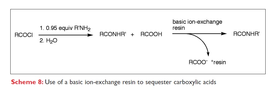 Scheme 8 Use of a basic ion-exchange resin to sequester carboxylic acids