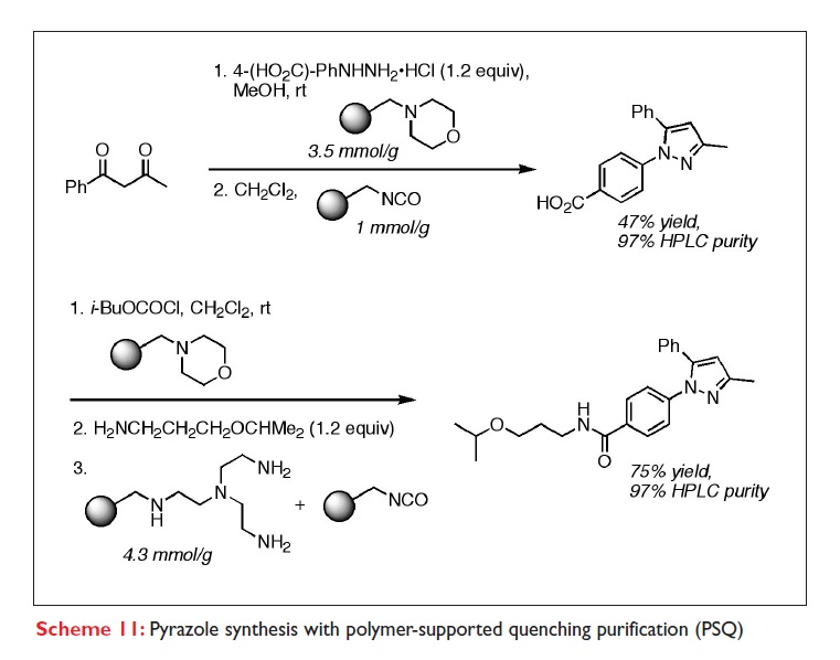 Scheme 11 Pyrazole synthesis with polymer-supported quenching purification (PSQ)