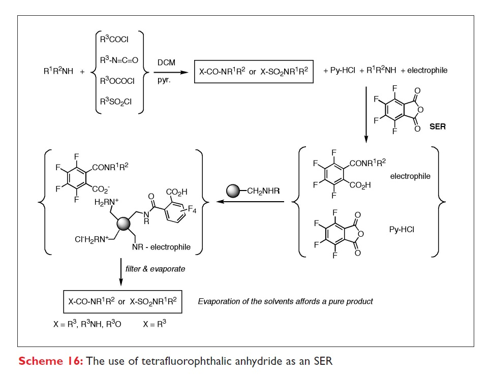 Scheme 16 The use of tetrafluorophthalix anhydride as an SER