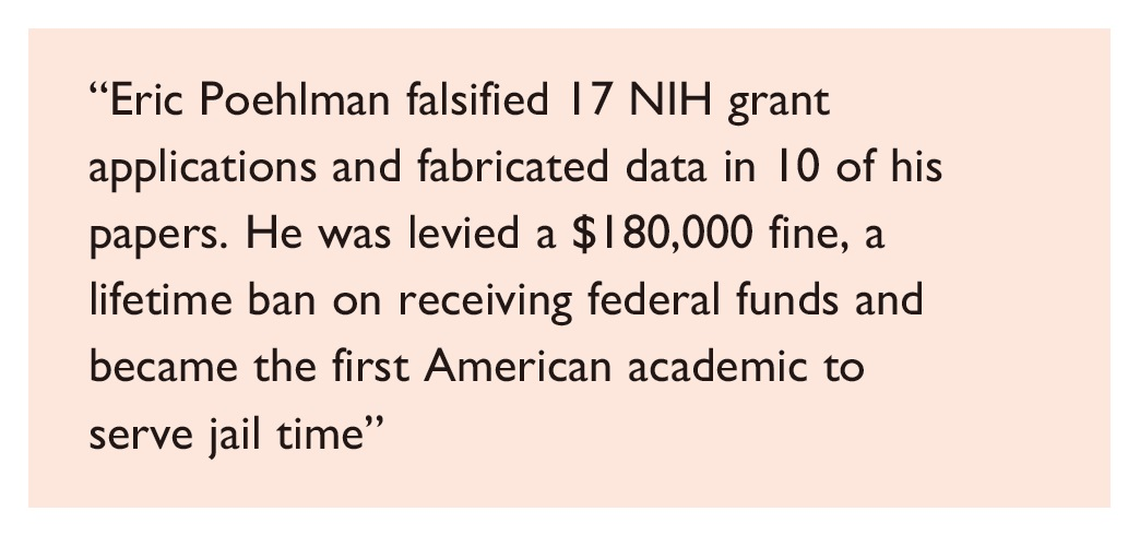 Excerpt 2 Misconduct in the biomedical sciences, detection and prevention, Eric Poehlman falsified 17 NIH grant applications and fabricated data