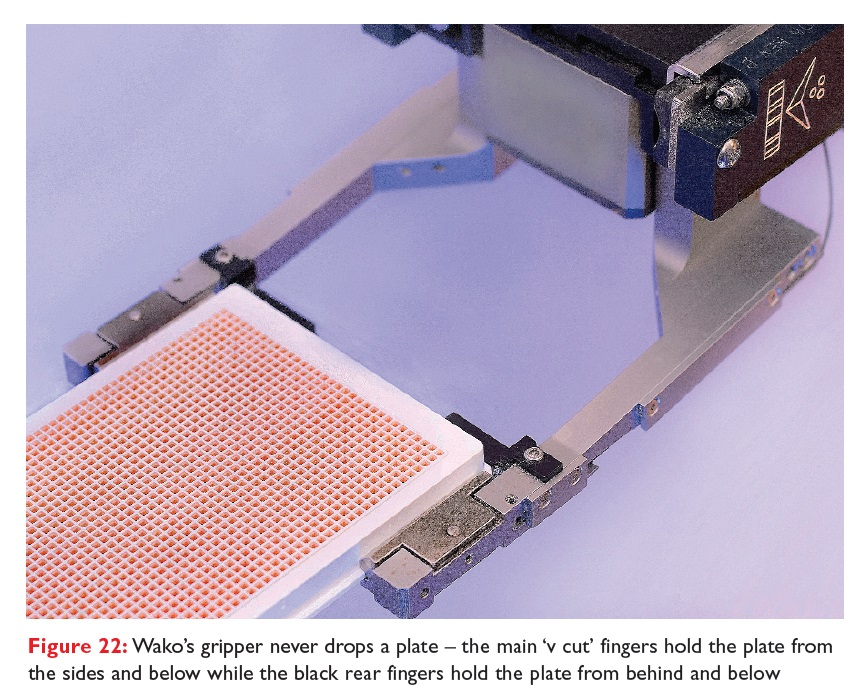 Figure 22 Wako's gripper never drops a plate - the main'v cut' fingers hold the plate from the sides and below