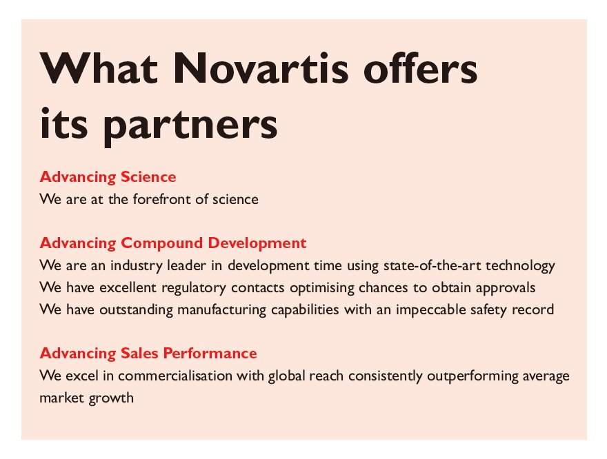 Excerpt 1 What Novartis offers its partners